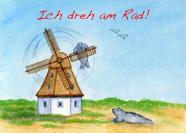 Postkarte A6 Robben, Ich dreh am Rad