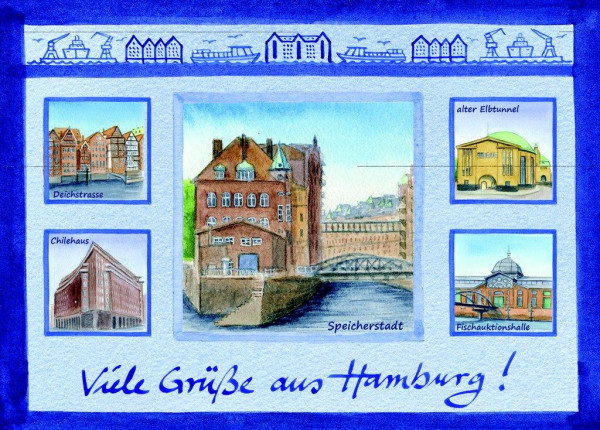 Postkarte A6 Ansichten Speicherstadt